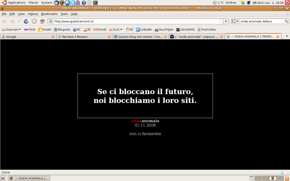 Screenshot del sito di Tremonti (1/11/2008)