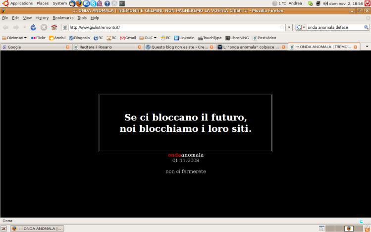 Screenshot del sito di Tremonti (1/11/2008)