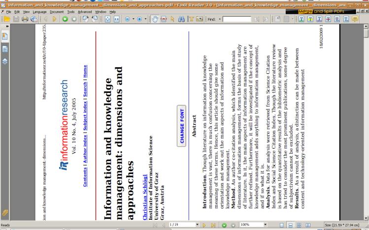 Pagina sdraiata aperta con Foxit Reader per annotare
